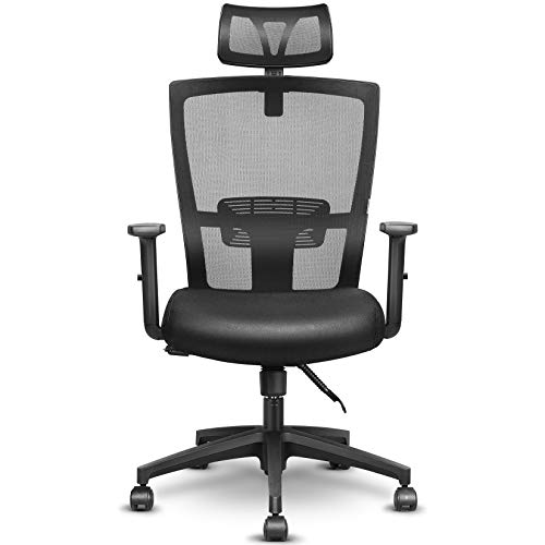 mfavour Ergonomic Office Chair Mesh Chair Heavy Duty Office Chair, Adjustable Headrest and Armrest, Home Office Chair with Tilt Function and Position Lock