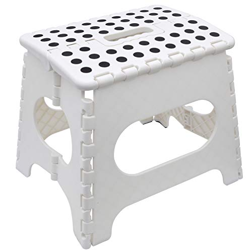 Knight Folding Step Stool, Strong Heavy Duty Skid Resistant Stool for Kids and Adults, White Black Grey, H29 x L27 x W22 CM (White)