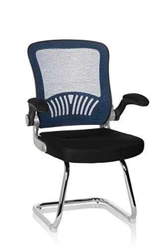 hjh OFFICE Flyer PRO V 706818 Visitor's Chair Mesh Black/Blue Cantilever Chair with Lumbar Support and Foldable Armrests