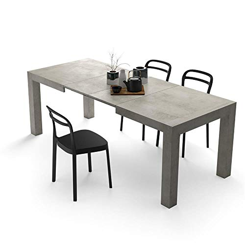 Mobili Fiver, Extendable Kitchen Table, Iacopo, Grey Concrete, Laminate-finished, Made in Italy