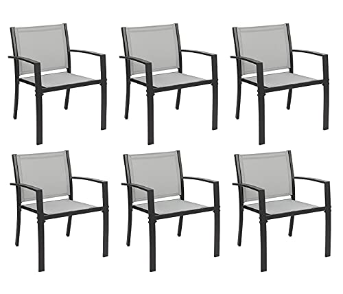 Garden Dining Chairs Set of 6, Indoor Outdoor Stacking Chair with Textilene Fabric and Metal Frame, Ergonomic Armchair for Patio Garden Dining Room