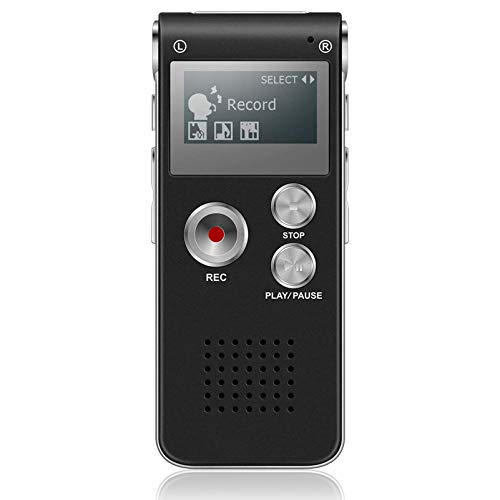 DISTANCEE 8GB Voice Recorder, Digital Audio Recorder and MP3 Player, Portable Voice Recorder Rechargeable Dictaphone with Mini USB Port for Meetings, Interviews and Lectures