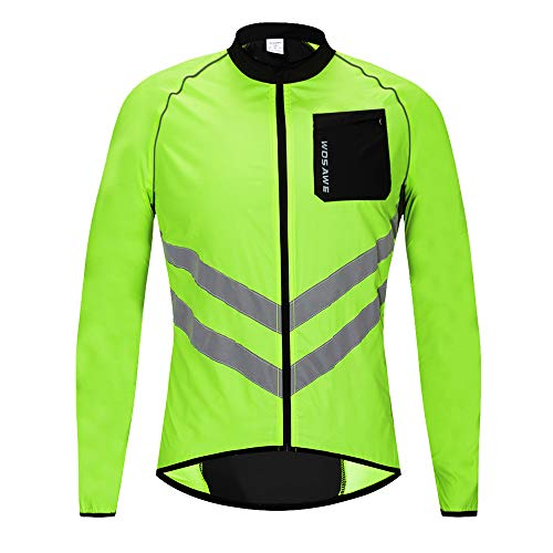 WOSAWE New Cycling Jacket Men Women Windbreaker Coat Breathable Waterproof Lightweight Jacket Safety for Motorbike, Riding and Racing at Night, 3XL, Jacket Green