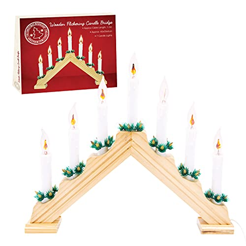 The Christmas Workshop 70800 Wooden Christmas Candle Bridge / Pine Wood Finish / Features Flickering Bright Orange Flames / Christmas Lights & Decorations / 40cm x 33cm x 5cm / Mains Powered