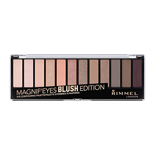 Rimmel London Magnif'eyes 12 Pan Eyeshadow Palette, Highly Pigmented Colours and Long-lasting Formula, Blushed Edition, 14 g