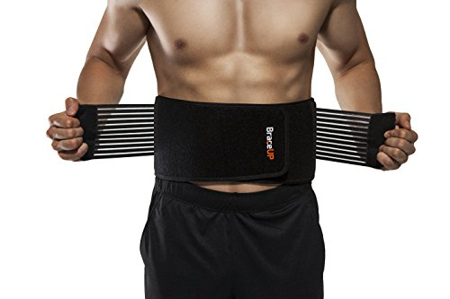 Back Support Belt by BraceUP® for Men and Women - Breathable Waist Lumbar Support Lower Back Brace for Sciatica, Herniated Disc, Scoliosis Lower Back Pain Relief, with Dual Adjustable Straps (L/XL)
