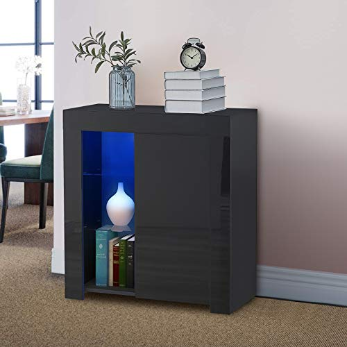 CLIPOP Modern Black LED Sideboard Matt Body and High Gloss Fronts Door Storage Sideboard Cabinet Cupboard with 2 Glass Shelves Display Cabinet Unit for Living Room Dining Room Furniture
