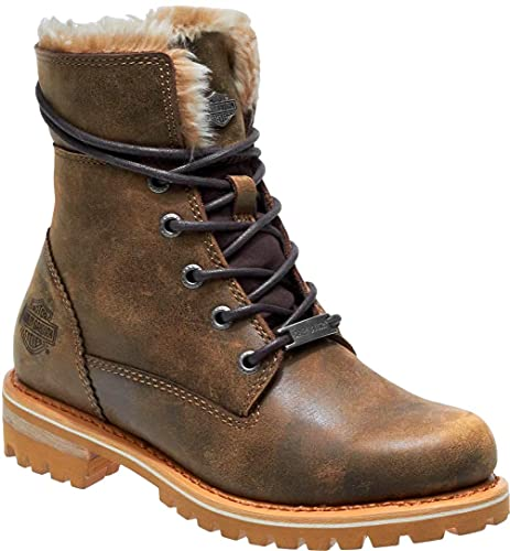 HARLEY-DAVIDSON Clearfield Womens Biker Combat Riding Ankle Boots UK 6 / EU 39 Brown