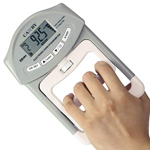 CAMRY Digital Hand Dynamometer Grip Strength Measurement Meter Auto Capturing Electronic Hand Grip Power 198 Lbs / 90 Kgs