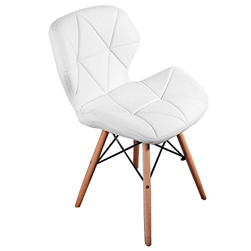 Midland Oak Furniture FRR MoF Style Dining Wooden Chairs Wood Legs & Comfortable Padded Seat Home Office Design Chair Dining chair (White, 1)