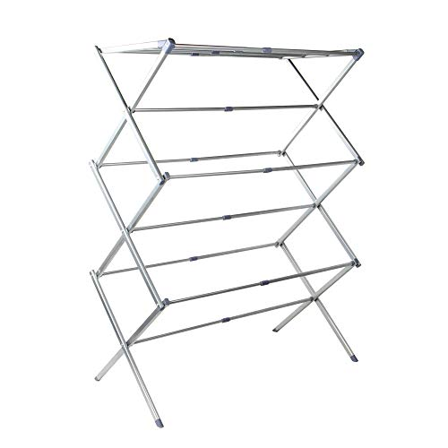 Expandable Folding Clothes Airer   7.5m Drying Space   Washing Drying Rack   Space Saving 3 Tier Folding Design for Easy Storage   M&W