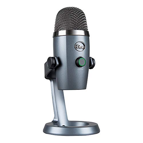 Blue Microphones Yeti Nano Premium Dual-Pattern USB Condenser Microphone, With Blue VOICE Vocal Effects, Compact Footprint, Latency-Free, For Gaming, Streaming and Podcasting on PC and Mac - Grey