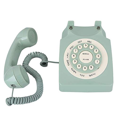 Dilwe1 Antique Phones for Landline, Green European Telephone Style, Wired Old Fashion Phone with Big Buttons, Decorative Phone for Home Office