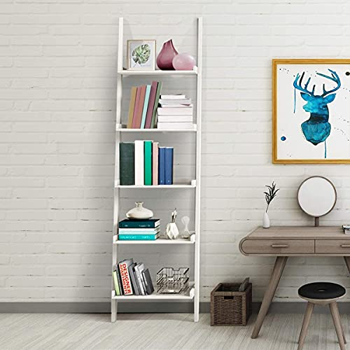 Multigot 5 Tier Ladder Shelf, Wooden Leaning Wall Rack, Ladder Shelving Unit for Flower, Plant, Toy and Book