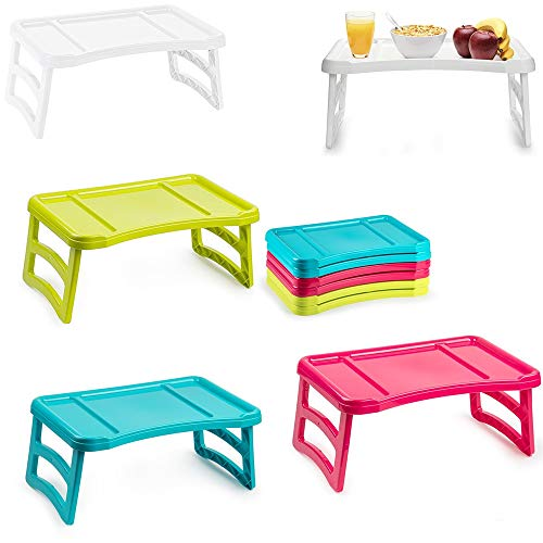 Plastic Forte Tray with Legs Folding Table for Breakfast or Lunch in Bed   51 x 33 cm, Multicoloured, One Size, Assorted Model (A-Random Color)