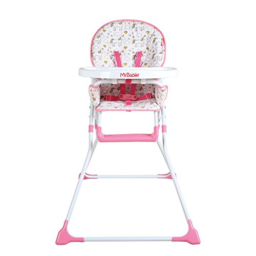 My Babiie MBHC1UN Pink Unicorn Soft Comfortable Compact Highchair, Ultra Lightweight, Padded Seat, Cup Holder, Foot Rest, Easy Clean Tray, Suitable from 6 months to 15kg