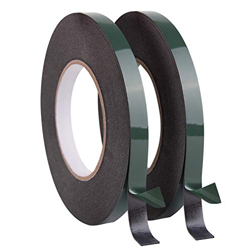 TUPARKA 20 Meters 12mm Foam Tape Double Sided Adhesive Sponge Tape Waterproof Mounting Tape Roll for Automotive Moldings LED,10m Each Roll