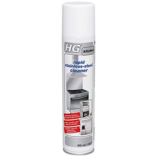 HG 341030106 Rapid Stainless Steel Cleaner 300 ml – Removes Grease, Dirt and Fingerprints - No Streaks - Protective Component