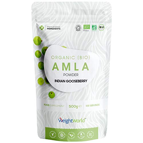 Super Amla Powder - 500g - Certified Organic Pure Indian Gooseberry for Deep Hair Care Shampoo Mask & Skin Care, High in Vitamin C for Scalp, Face & Hair Health & Growth Support - Vegan & Gluten Free