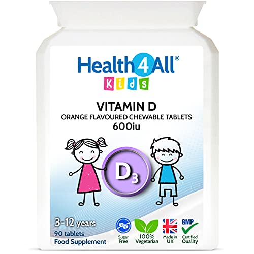 Kids Vitamin D3 600iu Chewable 90 Tablets (V). Sugar Free. Natural Orange Flavour. Made by Health4All Kids