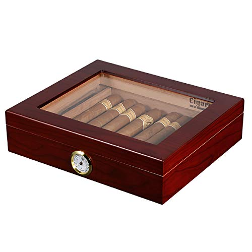 Volenx Cigar humidor with Hygrometer Holds 15-20 Cigars(Brown)