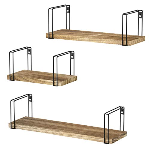 SRIWATANA Rustic Floating Shelves, Decorative Wood Wall Shelves Set of 3, Wall Mounted Storage Shelves for Bedroom, Living Room, Kitchen, Bathroom, Office and More Carbonized Black