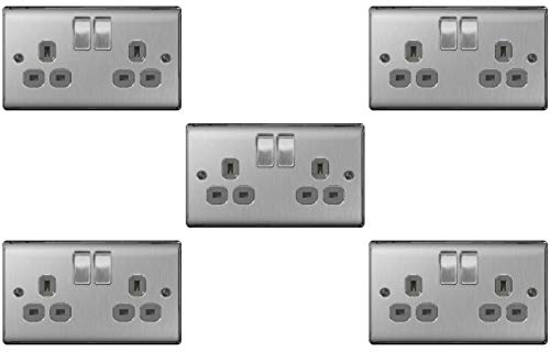 BG Electrical nbs22g/5 5 x Twin 13 A Switch Socket Outlets - Brushed Steel