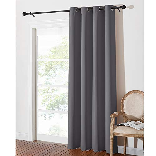 PONY DANCE Thermal Blackout Curtain - 84-inch Long Blackout Door Curtain for Living Room Eyelet Window Treatment for Home Fashion & Decoration, 1 Panel, W 52-inch by D 84-inch, Grey