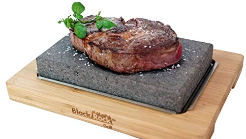 Black Rock Grill Lava Stone Steak Cooking Rock Set, Hot Stone Cooking