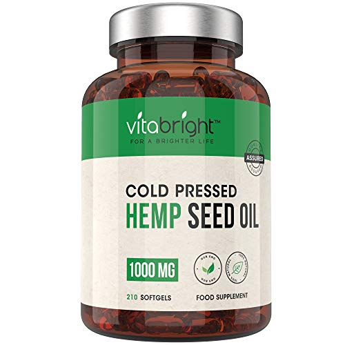 1000mg Hemp Oil Capsules - 7 Months Supply - 210,000mg per Bottle - Easy to Swallow - GMO, Wheat, Gluten & Lactose Free - 100% Pure Cold Pressed Hemp Seed Oil - Made in The UK