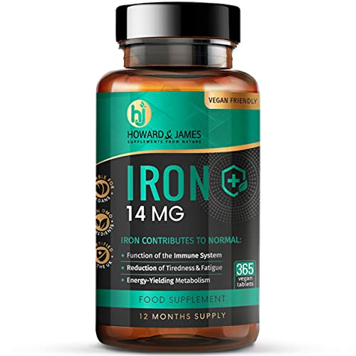 Iron 14mg - 365 Vegan Tablets (12 Months Supply) - GMO Free - Made in The UK by Howard & James