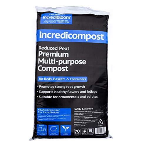 Thompson & Morgan Multi Purpose Garden Compost And Potting Compost Soil For Plants And Flowers | 1 x 70 Litre Bag of Incredicompost Plus 1 x 210g Sachet Of Incredibloom Slow Release Fertiliser Food