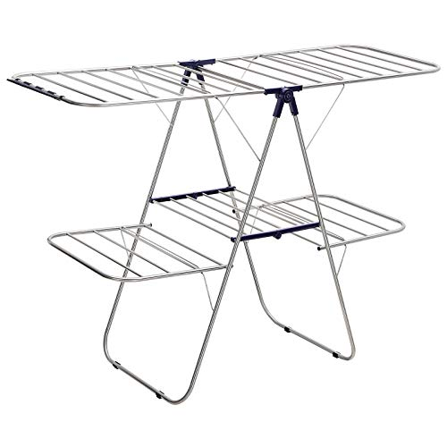 SONGMICS 2-Level Clothes Airer, Stainless Steel Drying Rack, Laundry Rack with Height-Adjustable Wings, Free-Standing Laundry Stand, for Socks, Bed Linen, Clothing, Foldable, Stable, Blue LLR53BU