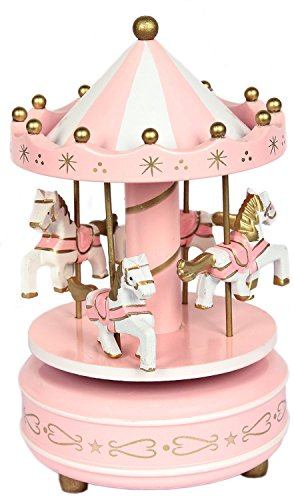 Carousel Music Box Vintage Merry-Go-Round Toy Birthday/Christmas/Children Gifts(Pink)