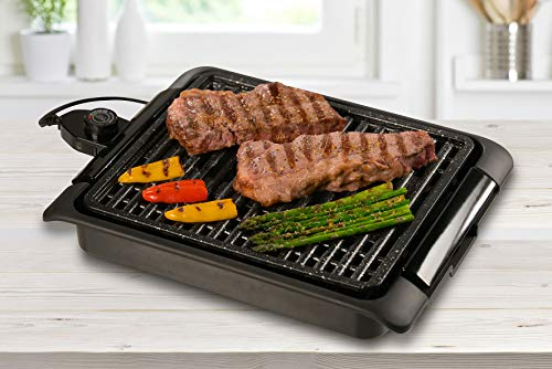 BEST DIRECT STARLYF® SMOKEFREE Grill As seen on TV Cooking and Grilling BBQ - Indoor Barbecue Grill with Adjustable Thermostat Drip Tray Easy Clean Non-Stick Griddle - 1250W (Smokefree Grill)