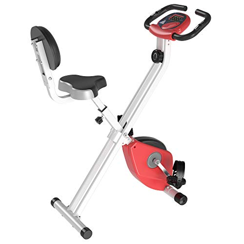 HOMCOM Magnetic Resistance Exercise Bike Foldable X Bike Home Bike Trainer w/LCD Monitor Adjustable Seat Heart Rate Monitors Food Straps Foot Pads Home Office Fitness Training Workout - Red