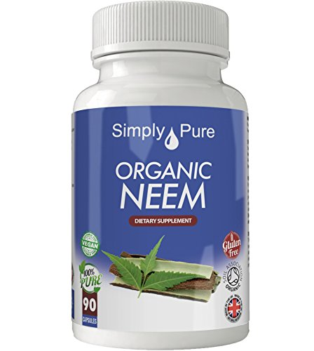 Simply Pure Organic Neem Capsules x 90, 500mg, 100% Natural Soil Association Certified, Gluten Free, GM Free and Vegan.