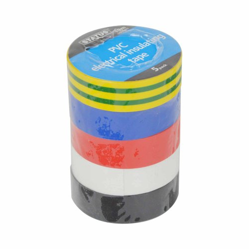 Status S5PKPVCETX6 10 m PVC Electrical Insulating Tape-Assorted Colour, Set of 5 Pieces