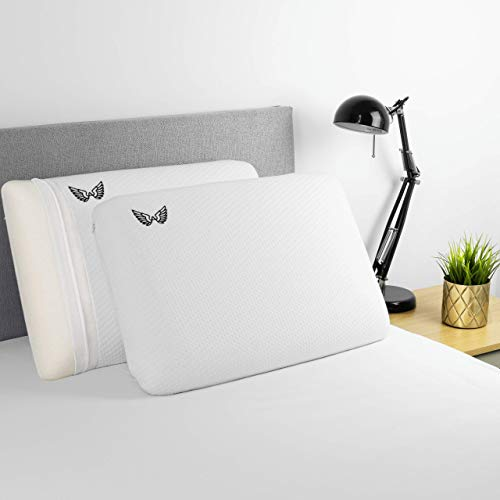 AviiatoR® Pure Memory Foam Pillow (2 Pack) Slow Rebound Orthopaedic Neck/Shoulder Pain Relief Support Pillows For Side Back Sleeper With Bamboo Cover