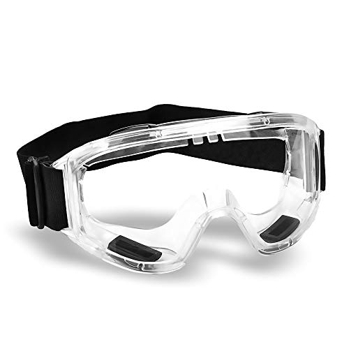 Industrial Ultra Clear Safety Goggles - Safety Glasses. Anti Fog Eye Protection Glasses, Protective Goggles for DIY, Chemistry, Lab, Welding, Science. 4 x Indirect Vents (Clear Frame)