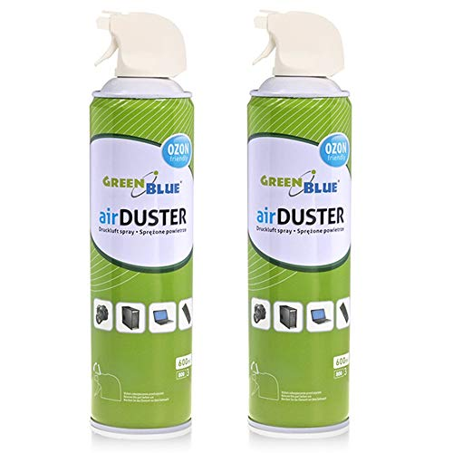 Green Blue GB600 Compressed Air Spray 2x 600ml Air Duster Cleaning Compressed Air Purifier Equipment Cleaner Ozone Friendly