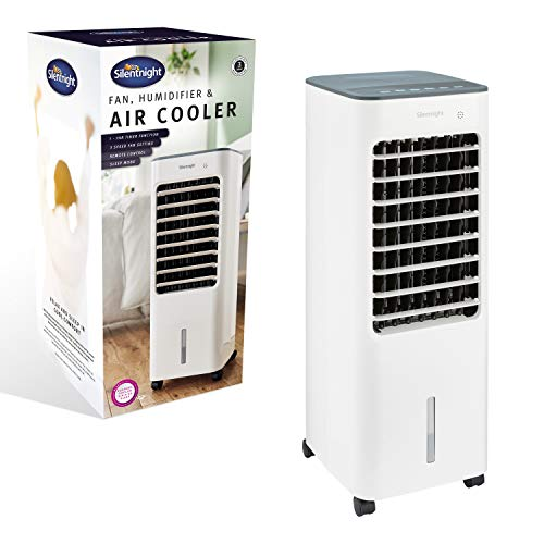 Silentnight 39989 3 in 1 Portable Air Cooler | Fan, Humidifier & Air Cooler | 5L Water Tank | 3 Adjustable Speed Functions | Remote Controlled | Home or Office Use | 70cm x 26cm x 28cm