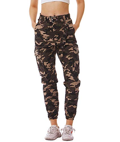 IDGREATIM Women Military Army Print Camo Cargo Pants Ladies Camouflage Trouser Casual Gym Jogger Sports Jogging Sports Camo Cargo Pants Tracksuit