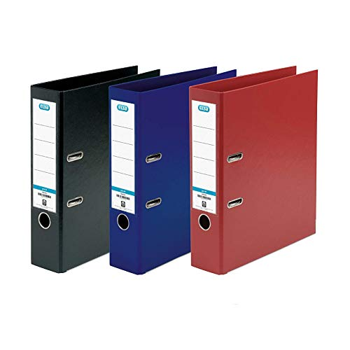 Elba Lever Arch File, A4 Plastic on Board file, Assorted, Pack of 3 Mixed colour