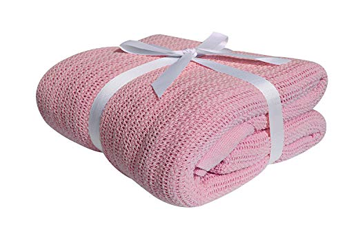 Darling 100% COTTON CELLULAR BLANKET Soft & Cozy Blankets & Throws (King, Pink)