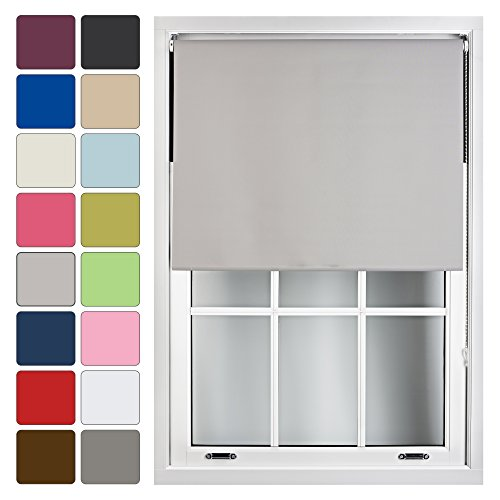 FURNISHED Blackout Roller Blind Made to Measure 14 Sizes 16 Colours Grey Gray Up To 60cm