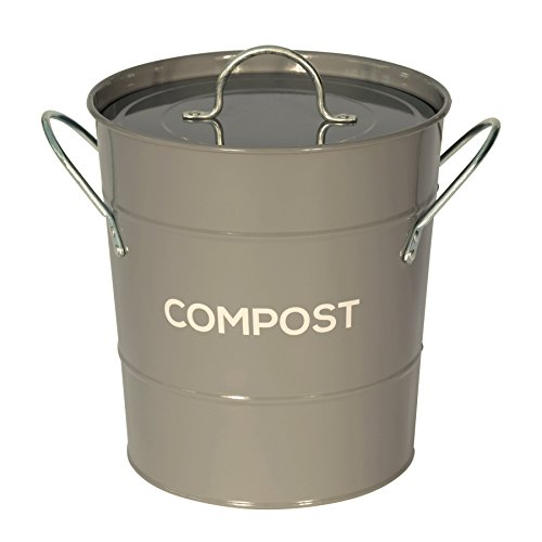 Metal Kitchen Compost Caddy - Composting Bin for Food Waste Recycling (Dark Grey)