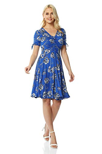 Roman Originals Women Floral Print Fit & Flare Skater Dress Ladies Stretch Jersey Casual Summer Autumn Party Beach Cruise Holiday V-Neck Knee Length - Royal Blue - Size 16