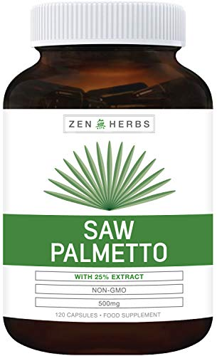 Extra Strength Saw Palmetto 25% Extract (Non-GMO) 120 Capsules - Support Prostate Health and Normal Urinary Function – Supports Natural Hair Growth - 500mg Natural Berry Supplement for Men - No Pills
