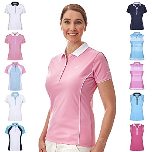 Under Par Women's Golf Pro Quality Breathable Wicking 5 Styles 10 Colours Sleeved & Sleeveless Polo Shirt, 1672-Pale Pink/White, 14